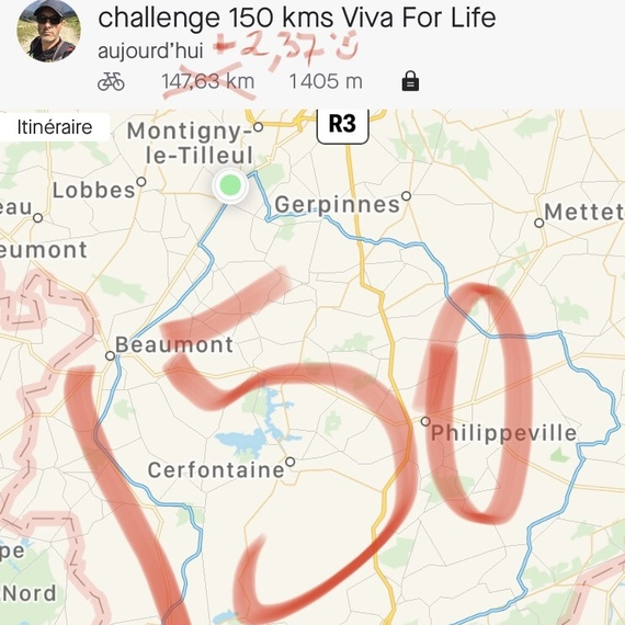 150 KMS VELO pour VIVA FOR LIFE