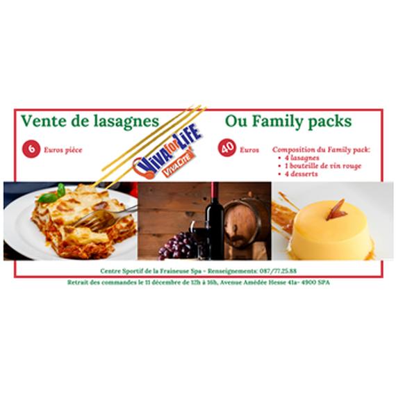 Vente de lasagnes ou de Family packs